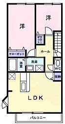 南海高野線 萩原天神駅 徒歩12分の賃貸アパート 2階2LDKの間取り