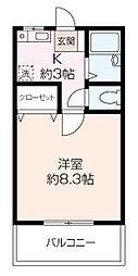 神奈川県横須賀市追浜東町1丁目の賃貸アパートの間取り