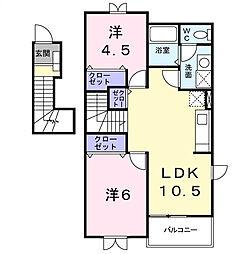 茨城県龍ケ崎市直鮒の賃貸アパートの間取り