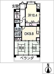 エステート垣戸[3階]の間取り