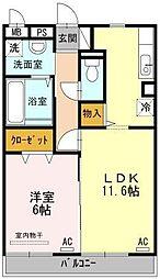 佐賀県佐賀市兵庫北7の賃貸アパートの間取り