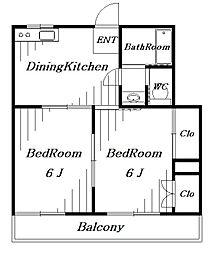 ビレッジハウス13[2階]の間取り