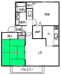 茨城県ひたちなか市大字中根の賃貸アパートの間取り
