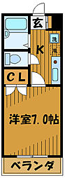 東京都国立市西2丁目の賃貸アパートの間取り