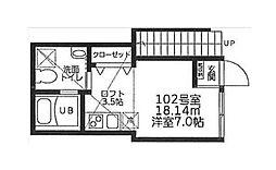 コートハウス溝の口B[102号室]の間取り