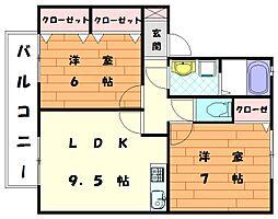 セジュ−ルユリ[1階]の間取り