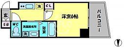 エステムコート大阪新町 14階1Kの間取り