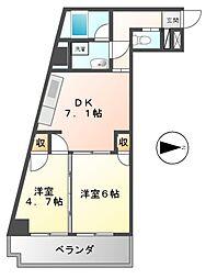 ハニーハイツ渡辺II[2階]の間取り
