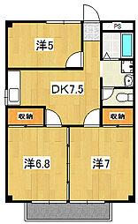 テクノハイム本宿 楓[102号室]の間取り