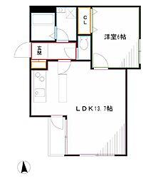 JR中央本線 三鷹駅 徒歩11分の賃貸マンション 1階1LDKの間取り