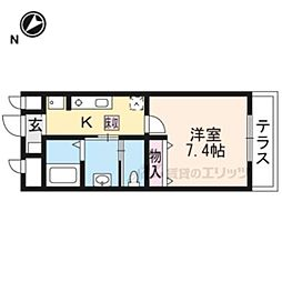 JR東海道・山陽本線 長岡京駅 徒歩9分の賃貸マンション 1階1Kの間取り