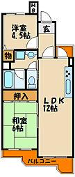 ハッピーコート大蔵谷駅前[2階]の間取り