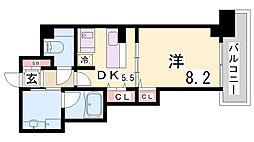 インペリアル新神戸 8階ワンルームの間取り