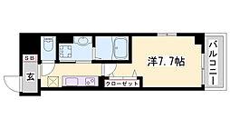 JR播但線 京口駅 徒歩12分の賃貸マンション 5階1Kの間取り
