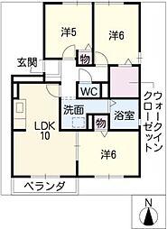 ロイヤルガーデン A棟[2階]の間取り