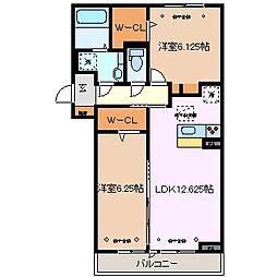 三重県四日市市南いかるが町の賃貸アパートの間取り