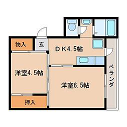 JR和歌山線 北宇智駅 徒歩11分の賃貸マンション 5階2DKの間取り