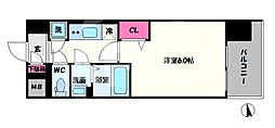 レジュールアッシュOSAKA新深江 5階1Kの間取り