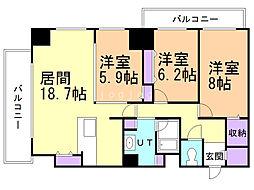 ユニーブル大通アルファスクエア 8階3LDKの間取り