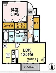 静岡県沼津市西沢田の賃貸アパートの間取り
