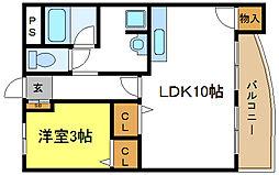 平野フラワーハイツ[4階]の間取り
