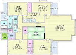 JR仙山線 北仙台駅 徒歩12分の賃貸マンション 2階4LDKの間取り