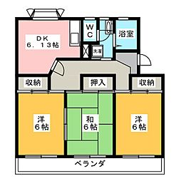 衣浦マンション B棟[2階]の間取り