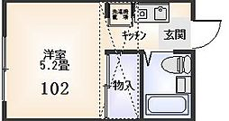 稲城ハイツ[102号室]の間取り