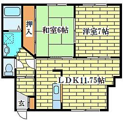 ハイツミキE[3階]の間取り