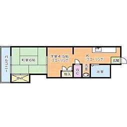 福岡県北九州市小倉北区三郎丸2丁目の賃貸アパートの間取り