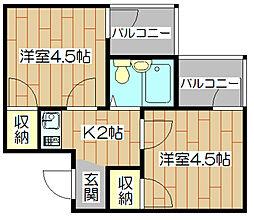 リーブル1番館[2階]の間取り