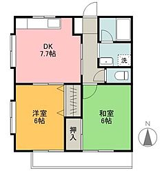 愛媛県松山市居相1丁目の賃貸アパートの間取り