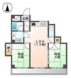 パ−クハイツ名城[4階]の間取り