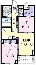 グランクレスタ 303階2LDKの間取り