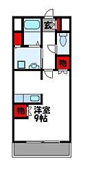 JR鹿児島本線 赤間駅 徒歩3分の賃貸マンション 6階ワンルームの間取り