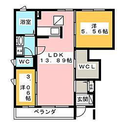 コンシェール仙C[1階]の間取り