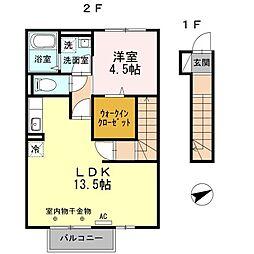 兵庫県加古川市別府町西脇の賃貸アパートの間取り