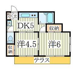 千葉県流山市江戸川台西2丁目の賃貸アパートの間取り