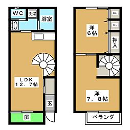 [テラスハウス] 岐阜県安八郡神戸町大字下宮 の賃貸【/】の間取り