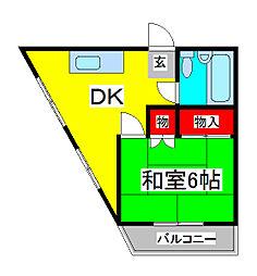 蕨ローズマンション[4階]の間取り