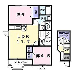 茨城県日立市末広町3丁目の賃貸アパートの間取り