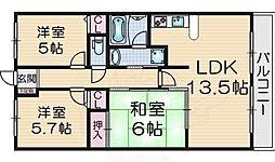 サザンクロス 4階3LDKの間取り
