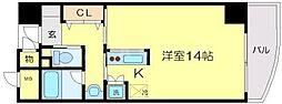 サンノーブルYAMAMOTO 9階ワンルームの間取り
