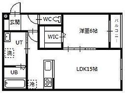 Hermitage East 2階1LDKの間取り