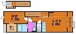JR山陽本線 岡山駅 バス30分 福浜市営住宅下車 徒歩6分の賃貸アパート 2階1DKの間取り