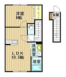 スリーゼFuji A[2階]の間取り