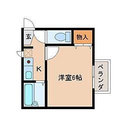 奈良県奈良市南京終町4丁目の賃貸アパートの間取り