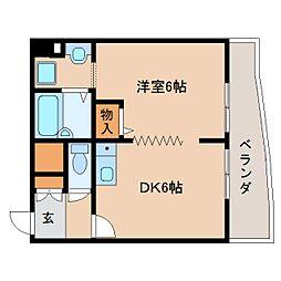JR関西本線 三郷駅 徒歩1分の賃貸マンション 3階1DKの間取り