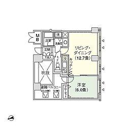 アクロスシティ中野坂上ハイツ 22階1LDKの間取り