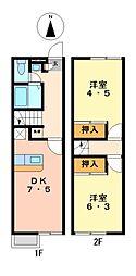 兵庫県姫路市広畑区高浜町2丁目の賃貸アパートの間取り